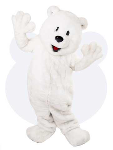 Ijsbeer mascotte - Jasper de ijsbeer mascotte pak huren