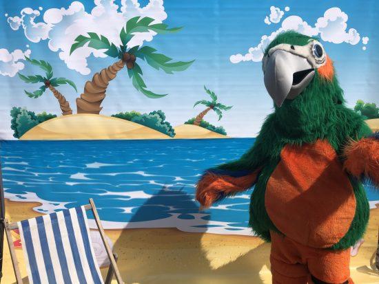 Papegaai mascotte met stand stoel